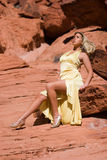 blonde girl in fashionable dress Royalty Free Stock Images