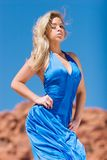 Sexy blonde girl in fashionable dress Royalty Free Stock Photo