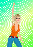 Blonde girl in night club. Portrait of blonde girl in t-shirt and jeans raising her right arm Royalty Free Illustration
