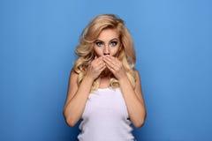 blonde girl posing royalty free stock photos