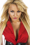 Blonde girl in red blouse.  stock image