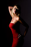 Sexy Blonde Girl in Strapless Red Dress Royalty Free Stock Photo