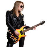 Sexy blonde girl in sunglasses , black leather jacket playing guitar Stock Photos