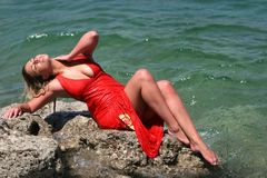blonde girl with wet dress Royalty Free Stock Photography