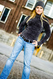 Sexy Blonde Girl in Winter Sweater & Hat Stock Images