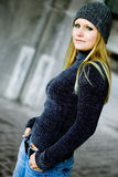 Sexy Blonde Girl in Winter Sweater & Hat Royalty Free Stock Photos