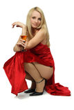 blonde with glass of wine. royalty free stock images