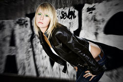 Blonde with Graffiti Backdrop Royalty Free Stock Photography
