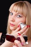 Sexy blonde het doen samenstelling Royalty-vrije Stock Foto