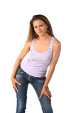 Sexy blonde in jeans Royalty Free Stock Photo