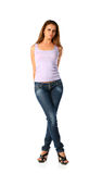 Sexy blonde in jeans Royalty Free Stock Photography