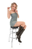 blonde kissing on a bar chair Royalty Free Stock Photography