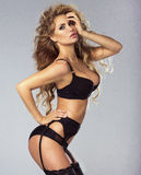 Sexy blonde lady in lingerie. Stock Photos