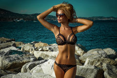 Sexy blonde lady in lingerie. Royalty Free Stock Image