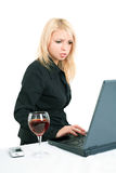 blonde with a laptop Stock Photos
