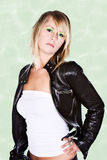 Blonde in Leather Jacket Royalty Free Stock Photography