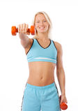 Sexy blonde lifting weights Royalty Free Stock Photo