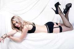 Sexy blonde in lingerie Royalty-vrije Stock Foto
