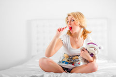 Sexy blonde with lollipop Stock Image