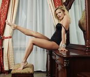 Sexy blonde with long legs Royalty Free Stock Photo