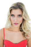 Sexy blonde model looking up thoughtfully Royalty Free Stock Photo