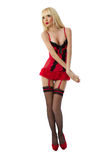 Sexy blonde model wearing red lingerie Royalty Free Stock Photo