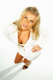 Sexy blonde modeluitdrukkingen 2 Royalty-vrije Stock Foto's