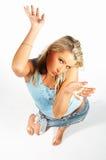 Sexy blonde modeluitdrukkingen Royalty-vrije Stock Foto