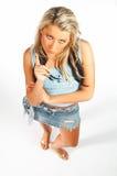 blonde modeluitdrukkingen Royalty-vrije Stock Afbeelding