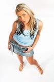 Sexy blonde modeluitdrukkingen royalty-vrije stock afbeeldingen
