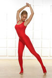 Sexy blonde perfect athletic slim figure yoga exercise or fitnes. Beautiful sexy blonde with perfect athletic slim figure engaged in yoga, exercise or fitness Stock Images