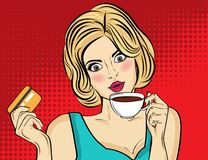 Sexy blonde Pop-Arten-Frau mit Kaffeetasse stockbilder