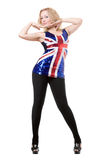 blonde posing in union-flag shirt Stock Image