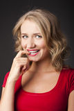 Sexy Blonde with red lipstick. studio Stock Images