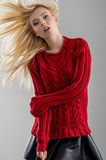 Sexy blonde in red sweater Stock Image