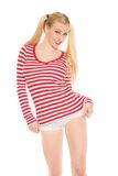 Sexy blonde red and white shirt panties shorts Royalty Free Stock Images