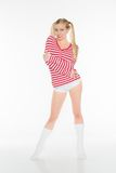 Sexy blonde red and white shirt panties shorts Royalty Free Stock Photo