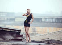 Sexy blonde on the roof Stock Images