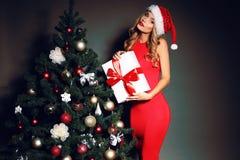 Sexy blonde Sankt halten vorhanden nahe dem Weihnachtsbaum Lizenzfreie Stockfotos