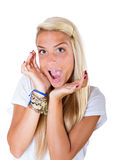 blonde say wow Royalty Free Stock Images
