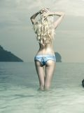 Sexy blonde at the sea Stock Images