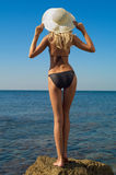 Sexy blonde on sea Royalty Free Stock Images
