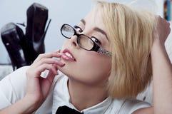 Sexy blonde secretary Royalty Free Stock Photo
