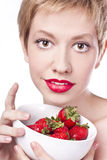 Sexy blonde with strawberry Stock Photo
