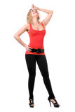 blonde in t-shirt and leggings Stock Photography