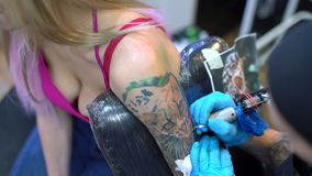Sexy blonde and tattoo master drawing tiger stock video