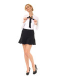 Sexy blonde teacher  isolated on white Stock Images