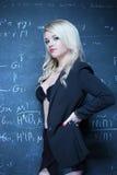 Sexy blonde teacher wearing lingerie Stock Image