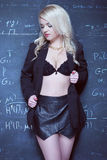 Sexy blonde teacher wearing lingerie Royalty Free Stock Photos