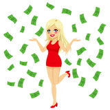 Sexy Blonde Under Money Rain. Beautiful young sexy long blonde haired woman under falling money rain shower Royalty Free Stock Images